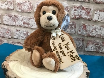 "Love You Mum - Personalised 8"" Monkey Plush"