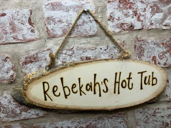 Hot Tub - Personalised Wood Slice Plaque