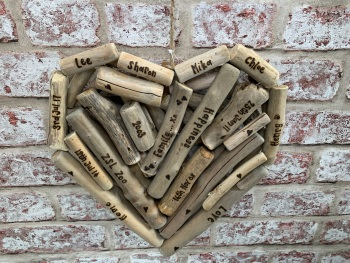 Personalised Large Driftwood Heart Shaped Plaque