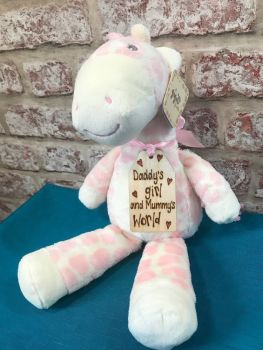 Design Your Own - Large Pink Giraffe Plushie With Engraved Tag