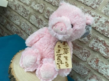 """Design Your Own - 12"""" Pig Plush With Engraved Tag"""