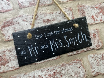Mr and Mrs, Our First Christmas   - Personalised Slate Rectangle Plaque