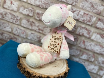 "Design Your Own - Large 13"" Pink Giraffe Plushie With Engraved Tag"