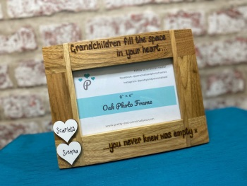 'Grandchildren Fill The Space In Your Heart. . .' - Personalised Solid Oak Wood Photo Frame