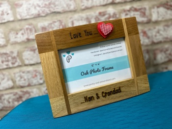 'Love You. . . Grandma and Grandad' - Personalised Solid Oak Wood Photo Frame