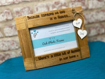 Someone We Love Is In Heaven  - Personalised Solid Oak Wood Photo Frame