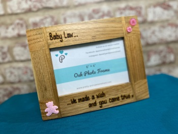 We Made a Wish... - New Baby Personalised Solid Oak Wood Photo Frame