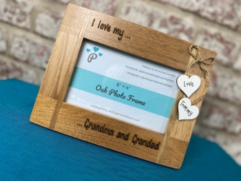 I Love My Grandma And Grandad - Personalised Solid Oak Wood Photo Frame
