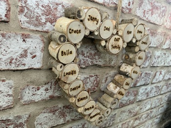 Large Birch Wood Slice Hanging Heart Plaque