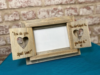 'How Do You Spell Love' - Personalised Driftwood Heart Shutter Photo Frame