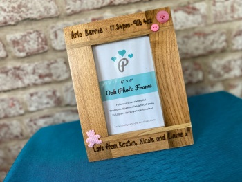 New Baby, Time and Weight  - Personalised Solid Oak Wood Photo Frame