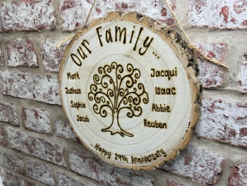 Family Tree - Personalised Wooden Log Slice Plaque