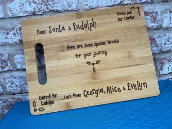 Personalised Christmas wooden chopping board Santa Rudolph