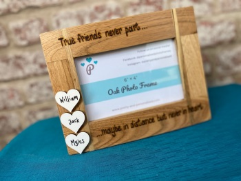 'True Friends Never Apart' - Personalised Solid Oak Wood Photo Frame