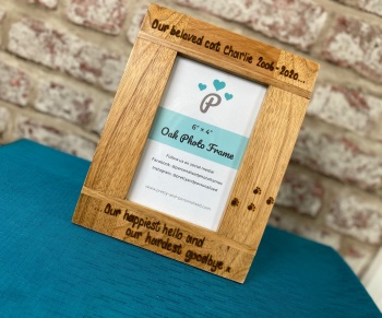 'Happiest Hello, Hardest Goodbye' Dog, Cat, Horse  - Personalised Solid Oak Wood Photo Frame