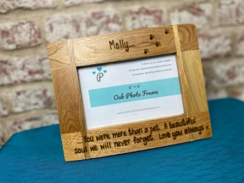 Beautiful Soul We Will Never Forget - Dog, Cat, Horse - Personalised Solid Oak Wood Photo Frame