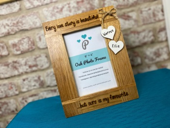Every Love Story Is Beautiful | Personalised Solid Oak Wood Photo Frame