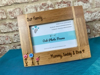 Family Button Heads - Personalised Solid Oak Wood Photo Frame