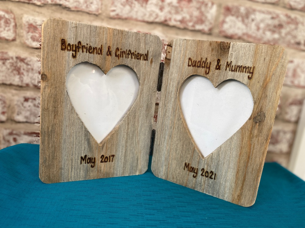 'New Baby' - Personalised Double Driftwood Photo Frame