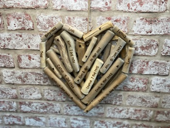 Anniversary / Wedding / Christening / Memories / Memorial   - Personalised Large Driftwood Heart Shaped Plaque