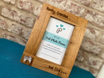 Nana, Grandad And Me - Personalised Solid Oak Wood Photo Frame