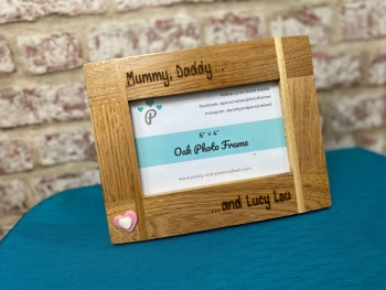 Daddy Mommy And .... - Personalised Solid Oak Wood Photo Frame