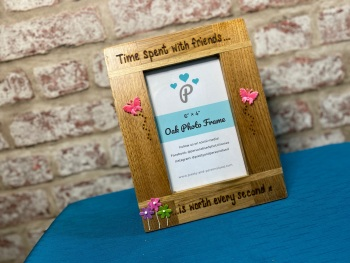 Time Spent With Friends... - Personalised Solid Oak Wood Photo Frame