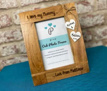 I Love My Daddy / Mummy - Personalised Solid Oak Wood Photo Frame