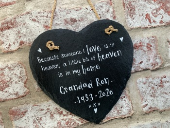 A Little Bit Of Heaven Is In My Home. . . - Personalised Slate Heart Plaque