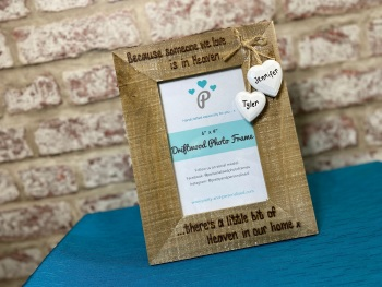 'In Heaven' - Personalised Driftwood Photo Frame