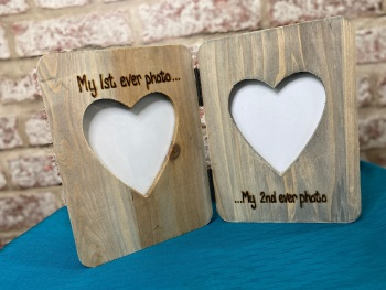 My First Ever Photo My Second Ever Photo - Personalised Double Driftwood Photo Frame