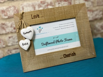 Love... Cherish... - Personalised Driftwood Photo Frame