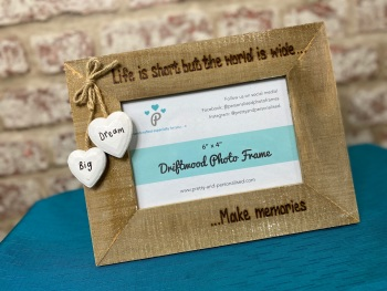 Life Is Short But The World Is Wide - Personalised Driftwood Photo Frame