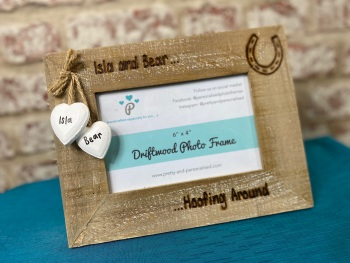 Hoofing Around / Horse - Personalised Driftwood Photo Frame