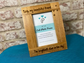 The Brightest Star In The Sky - Dog, Cat, Horse - Personalised Solid Oak Wood Photo Frame
