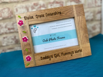 Daddy's Girl Mummy's World - Personalised Solid Oak Wood Photo Frame