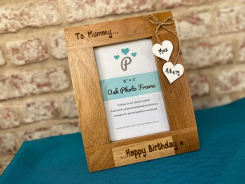 Happy Birthday - Personalised Solid Oak Wood Photo Frame