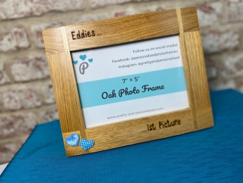 Baby's 1st Picture - Personalised Solid Oak Wood Photo Frame
