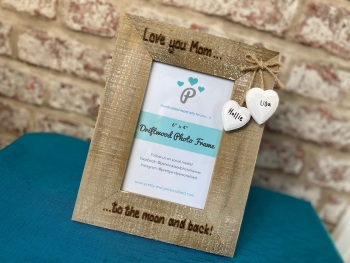 Love You Mom,  To The Moon And Back   - Personalised Driftwood Photo Frame
