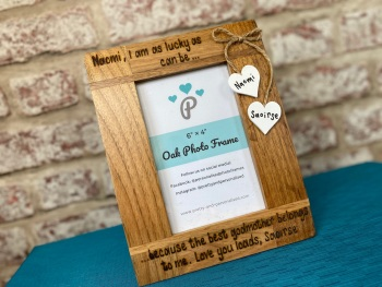 I Am Lucky As Can Be... - Godparent - Personalised Solid Oak Wood Photo Frame