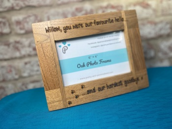 Happiest Hello, Hardest Goodbye - Dog, Cat, Horse - Personalised Solid Oak Wood Photo Frame