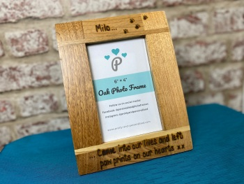 Paw Prints On Our Hearts - Dog, Cat - Personalised Solid Oak Wood Photo Frame