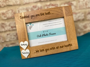 Dad / Mum You Are The Best - Personalised Solid Oak Wood Photo Frame