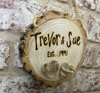 Mr & Mrs Est (Year) / Anniversary - Personalised Wooden Log Slice Plaque