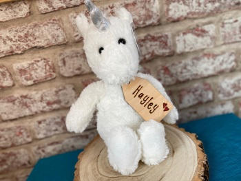 "Send A Hug - 12"" Unicorn Plush With Engraved Tag"