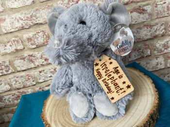 "Age Is Irrelephant / Birthday - Personalised 12"" Elephant Plush"