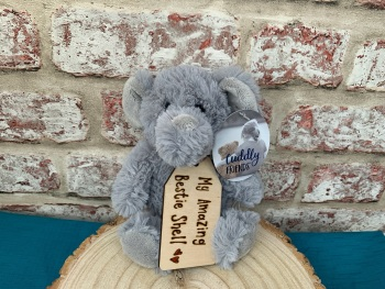 "My Amazing Bestie / Best Friend / Birthday  - Personalised 8"" Elephant Plush"