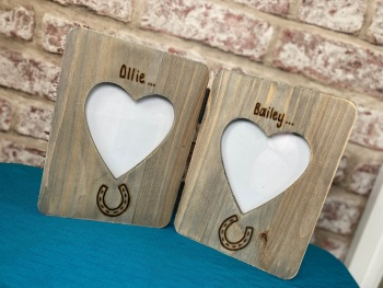 Horse - Personalised Double Driftwood Photo Frame