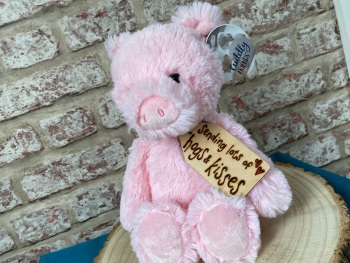 "Sending Hogs & Kisses - Pig Plush (12"")  With Engraved Tag"