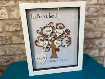 Personalised Family Tree Box Frame - Large